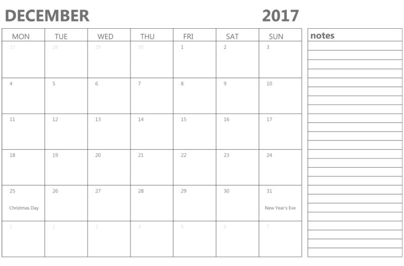 Printable December 2017 Calendar Template