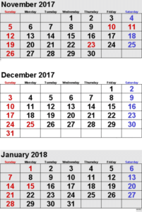 Printable December 2017 January 2018 Calendar Template