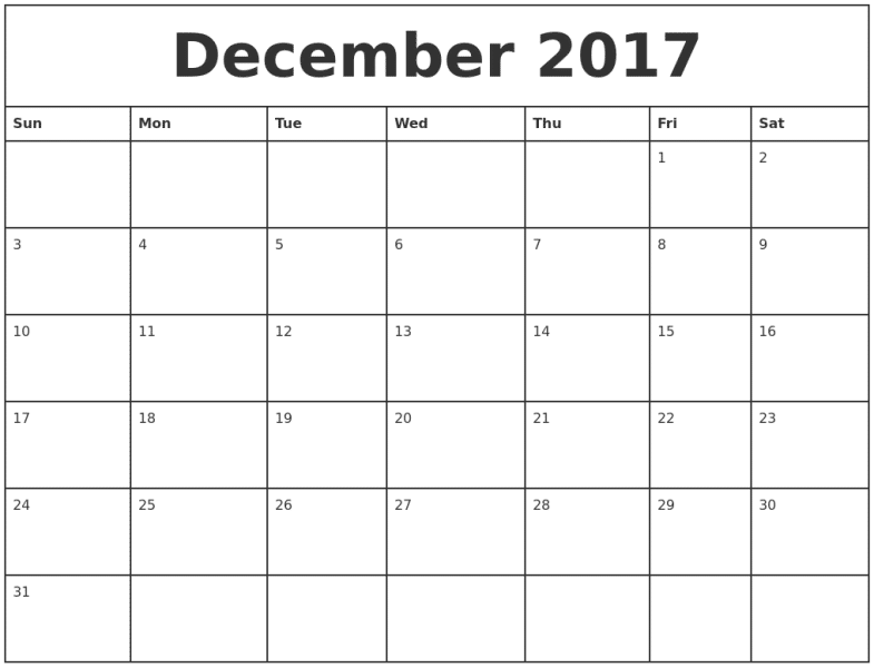 Printable December 2017 Monthly Calendar