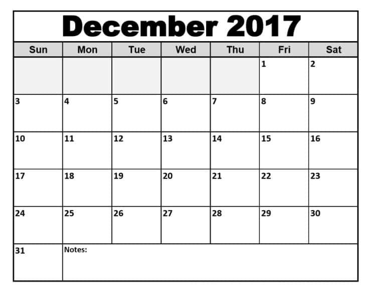Printable December Calendar 2017 Template