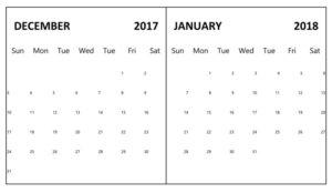 Printable December 2017 January 2018 Calendar