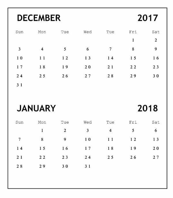 Printable December 2017  January 2018 Calendar Template