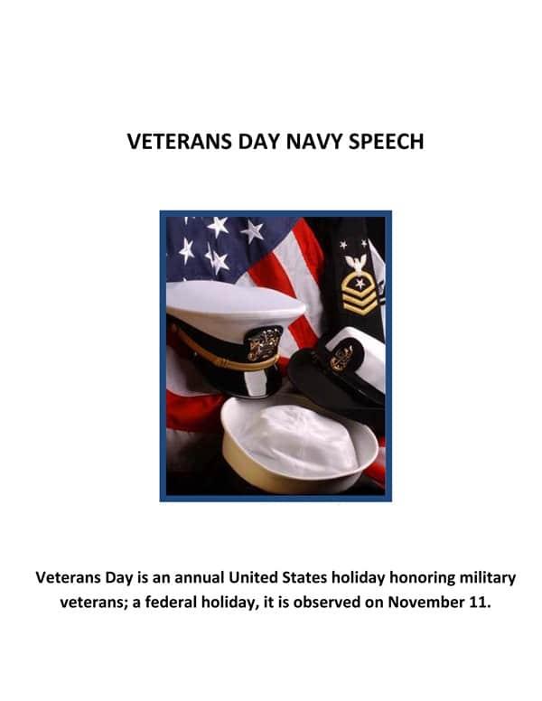 Veterans Day Speech Cover Sheet