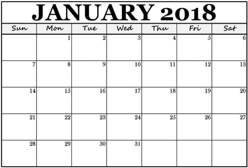 2018 Calendar January Printable