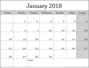 2018 Calendar January Template