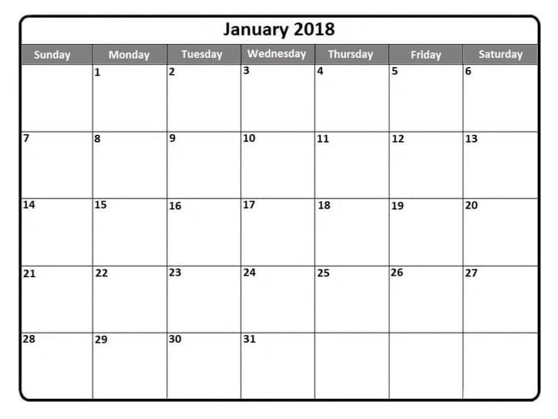 2018 January Calendar Printable