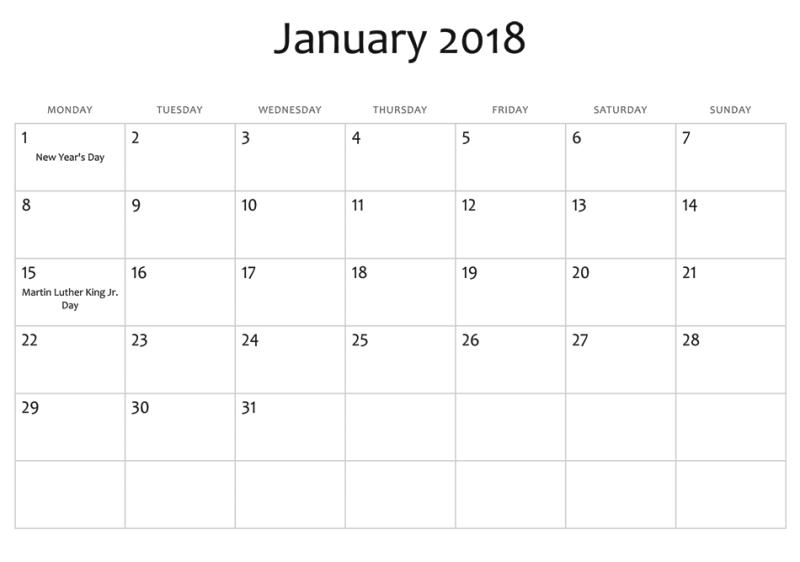 2018 January Calendar With Holidays India