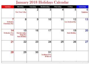 2018 January Calendar With Holidays UK