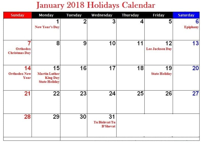 2018 January Calendar With Holidays UK