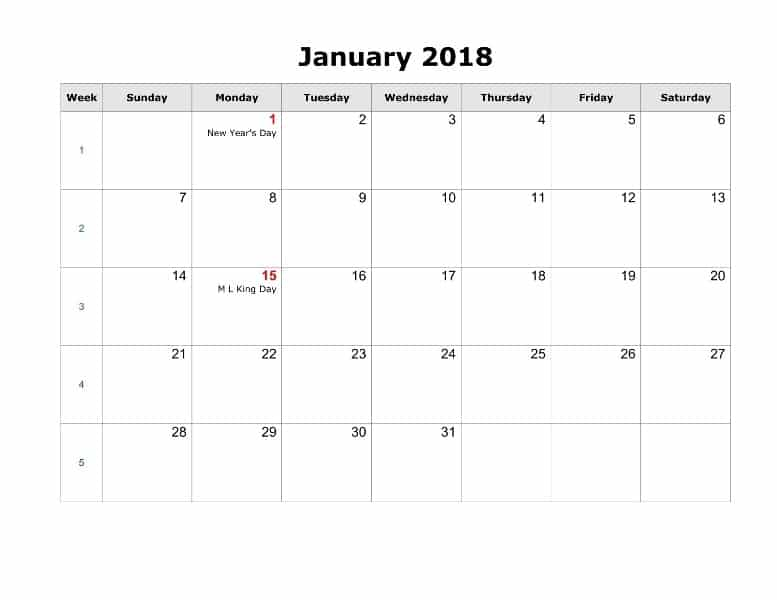 2018 January Calendar With Holidays USA