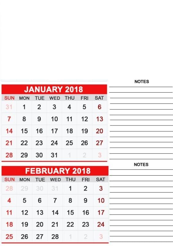 2018 January February Calendar Printable
