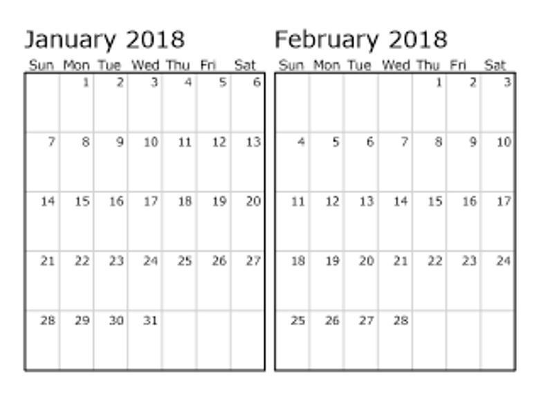 2018 January February Calendar Template