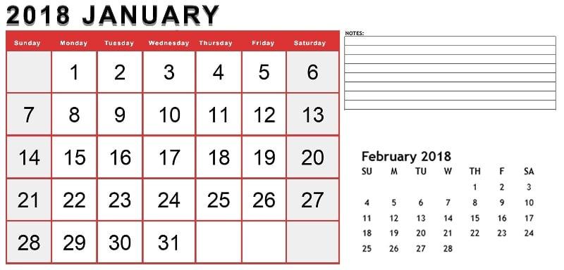 2018 January February Calendar