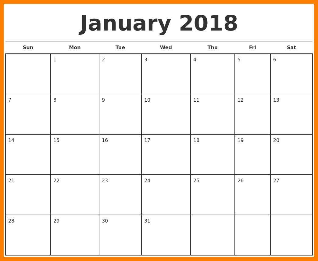 printable blank monthly calendar 2018