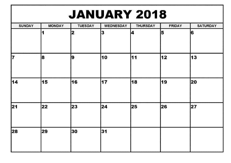 Calendar 2018 Monthly January