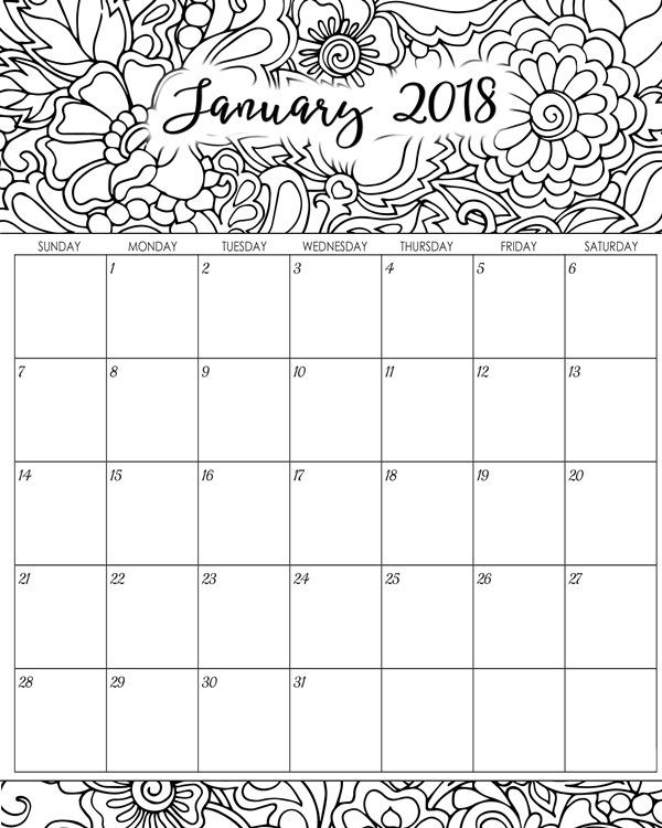 Calendar January 2018 Printable