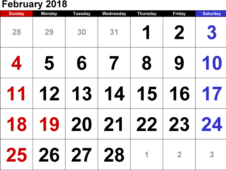 February 2018 Calendar Printables for free download