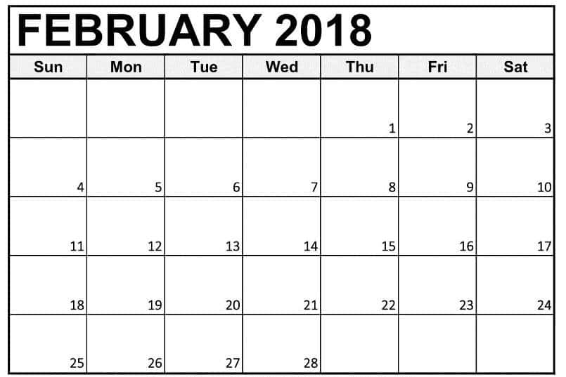 February 2018 Calendar Printables ownload for free