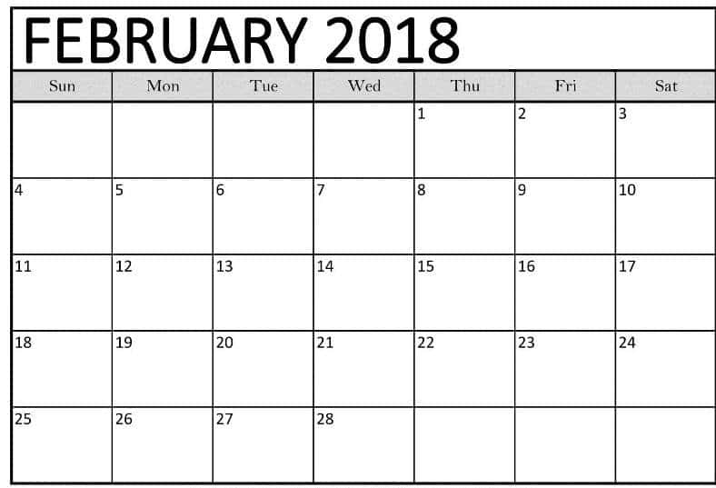 February 2018 Calendar Printables images