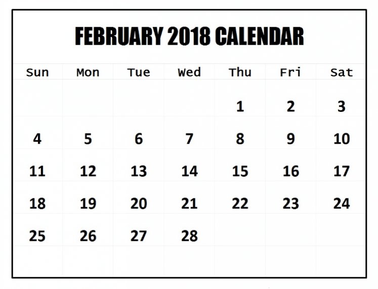 February 2018 Calendar Printables gallery