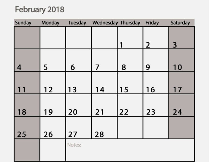 February 2018 Calendar Printables available