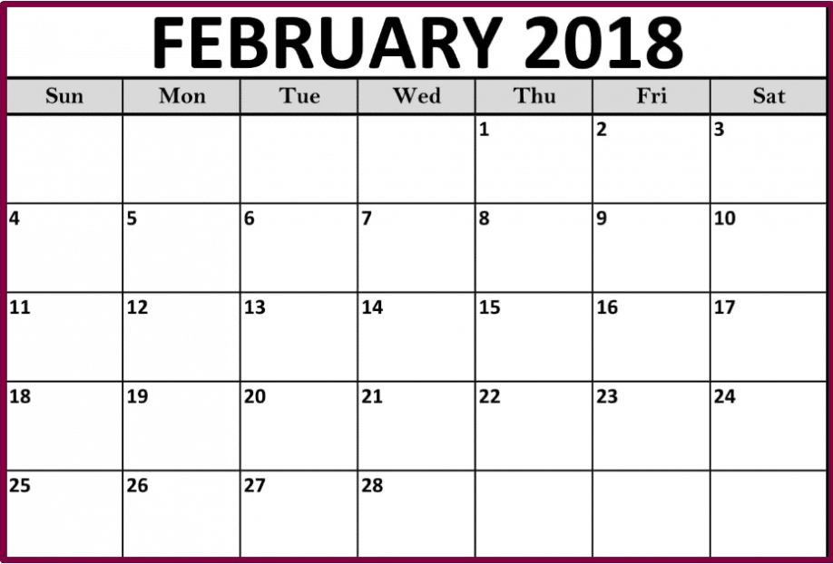 February 2018 Calendar Printables downloads