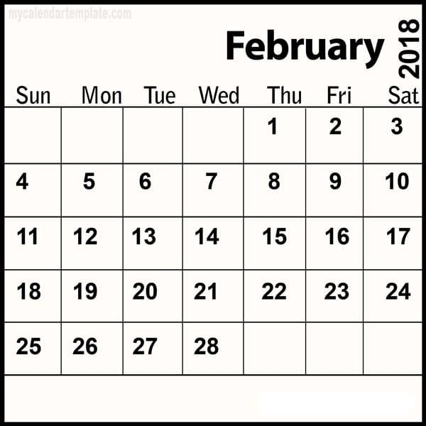 February 2018 Calendar Printables download for free