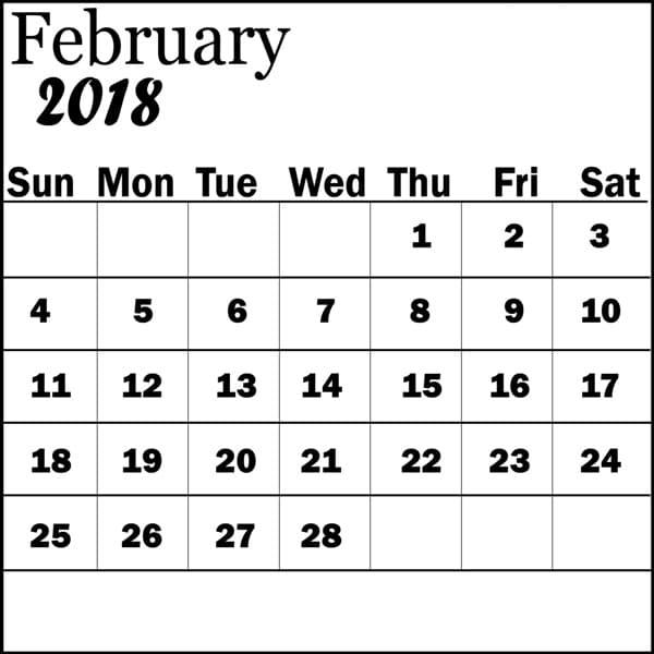 2018 February Calendar Templates available