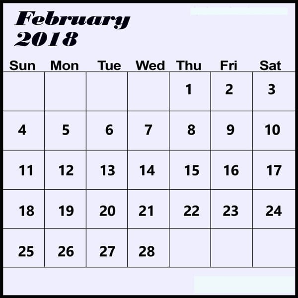 February 2018 Calendar Template excel