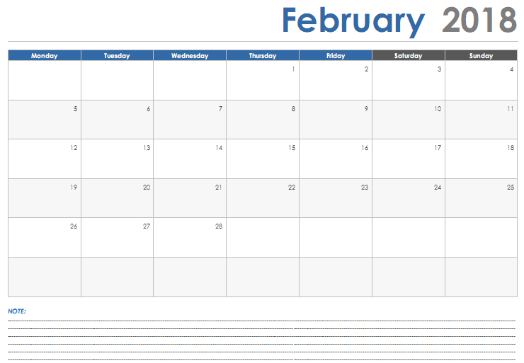 February 2018 Calendar Template free download