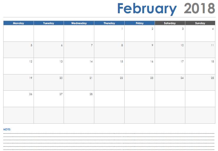 February 2018 Calendar Template free download