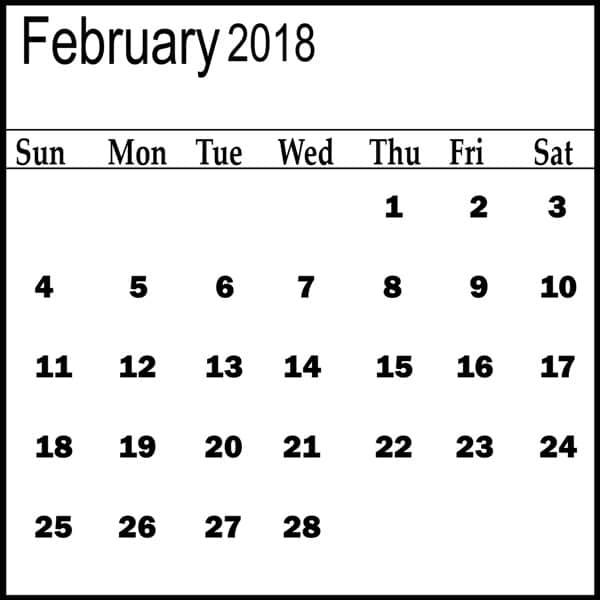 February 2018 Calendar Template free images