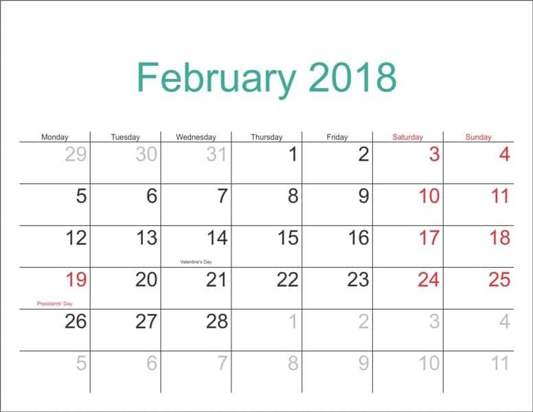 February 2018 Calendar Template free pdf