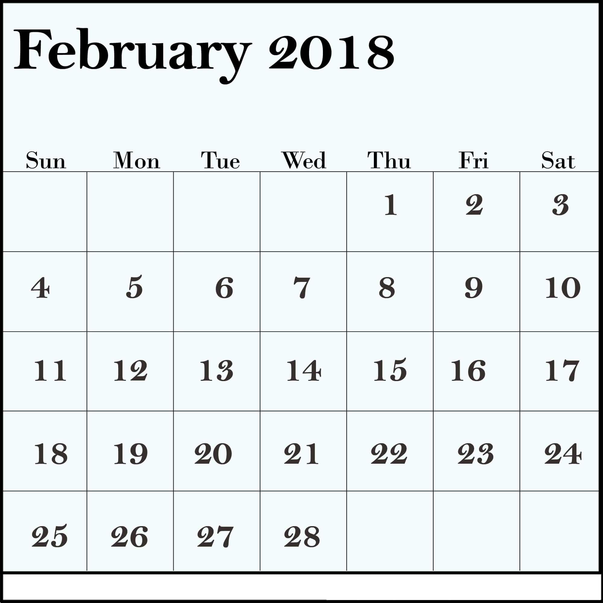 Calendar February 2018 Template free portraits
