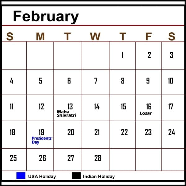 2018 February Calendar Template quote