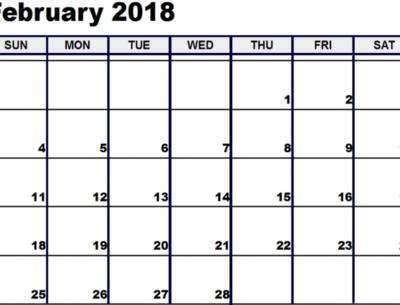 2018 February Calendar Template available