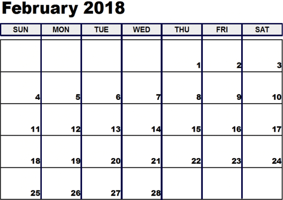 2018 February Calendar Template available