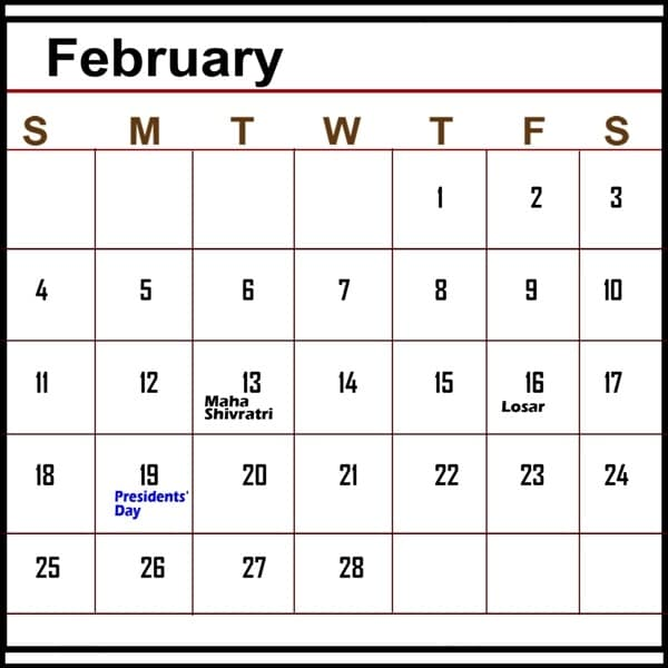 February 2018 Calendar With Holidays images