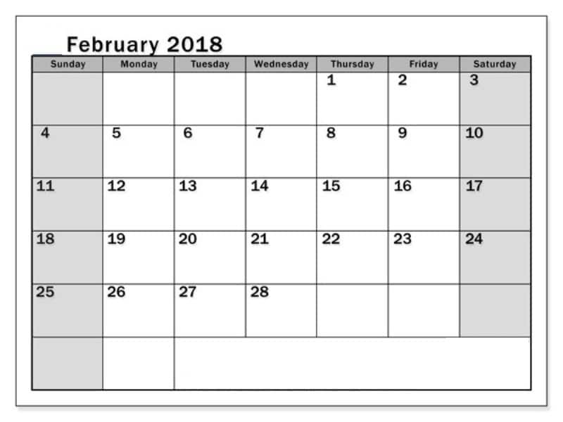 February 2018 Calendar With Holidays template