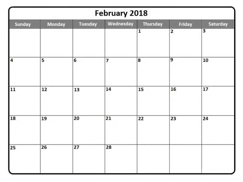 2018 February Calendar With Holidays free templates