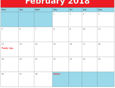 2018 February Calendar With Holidays template download