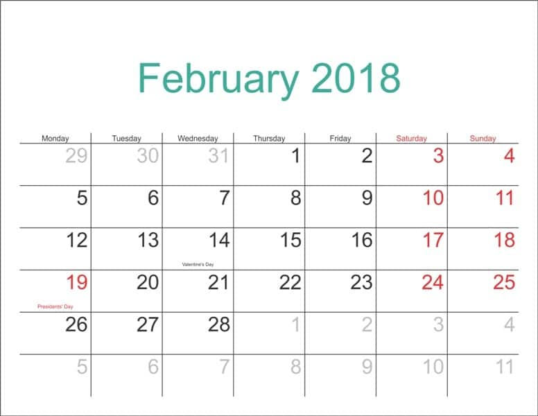 2018 Calendar February download