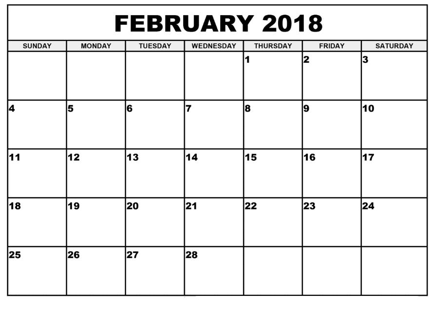 2018 Calendar February pdf