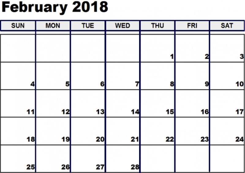 February 2018 Calendar images