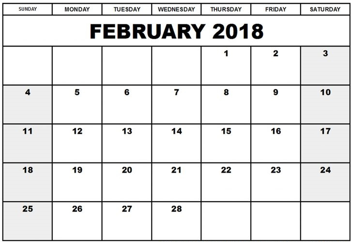 February 2018 Calendar downloadable
