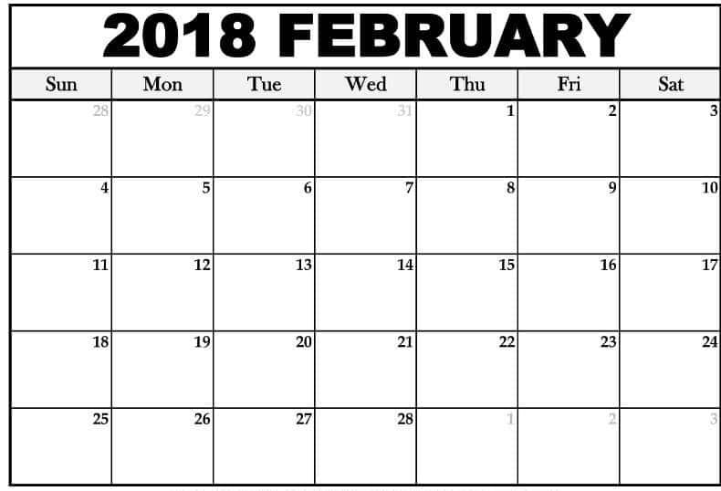 February 2018 Calendar portrait