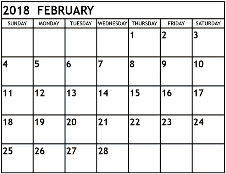 February 2018 Printable Calendar download for free