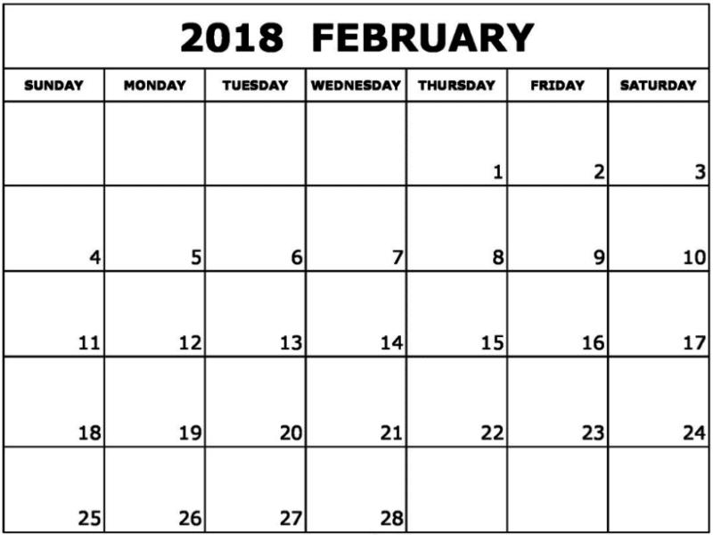 February 2018 Printable Calendar for free