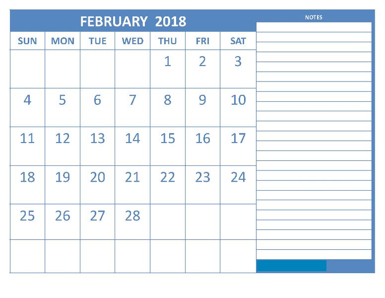 February 2018 Printable Calendar free templates