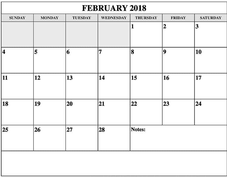 February 2018 Printable Calendar download
